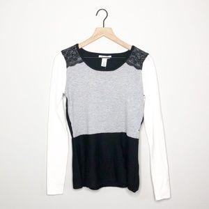 NWT WHBM Black / Grey / White Colorblock Sweater